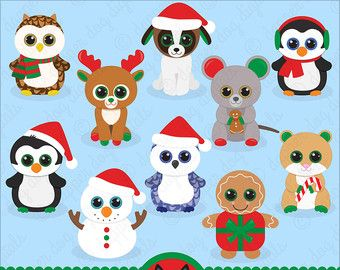 Beanie Boo's Clipart Set Christmas, Glitter Eyes.