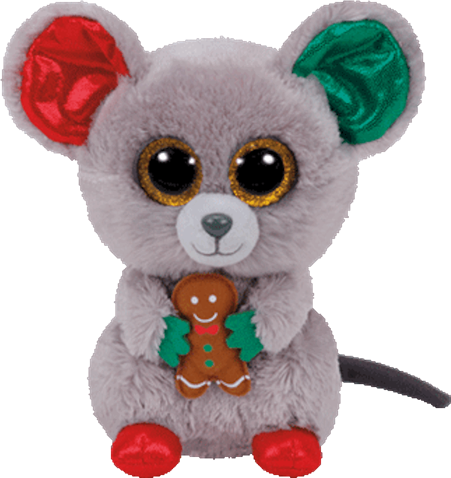 Beanie Boo Plush Stuffed Animal Mac The Christmas Mouse.