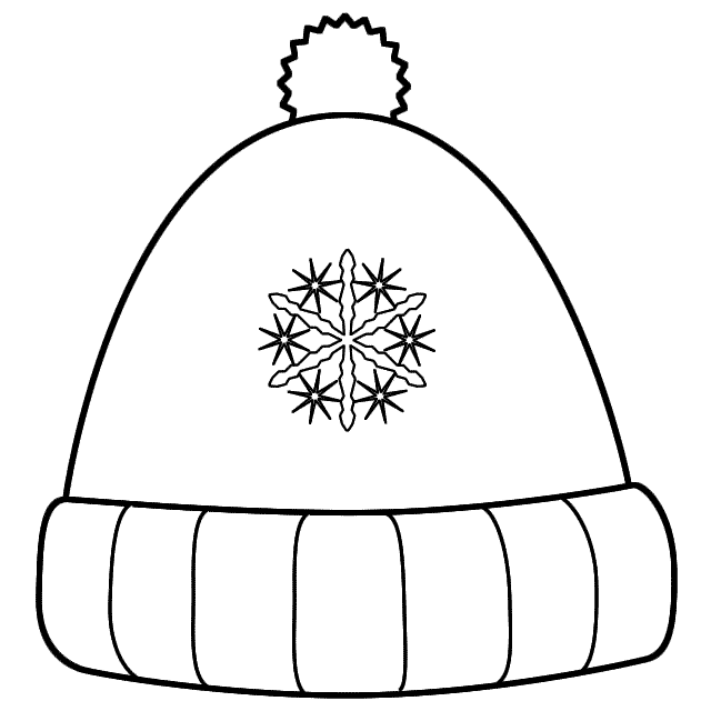 Black And White Clipart Winter Hat.