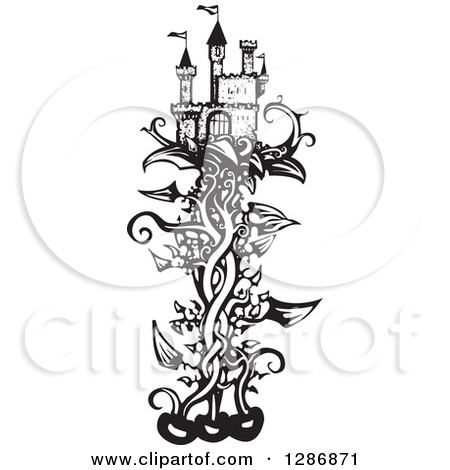 Clipart of a Black and White Woodcut Fantasy Castle on a Beanstalk.