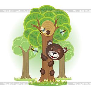 Bear Climbing Tree Clipart.