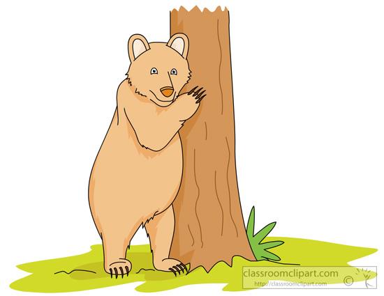 Bear standing upright near tree » Clipart Station.