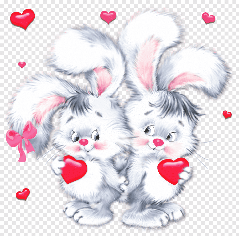 Two gray rabbit illustration, Valentine\'s Day Birthday Wish.