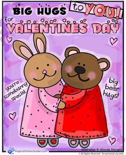Happy Valentines Day bunny bear hugs.