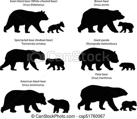 Silhouettes of bears and bear.
