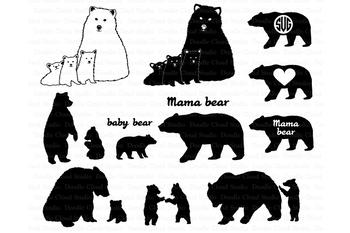 Bear SVG, Bear Family svg, Bears SVG files for Silhouette Cameo and Cricut.