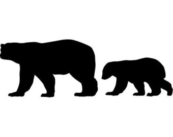 two bear cubs clipart black #9