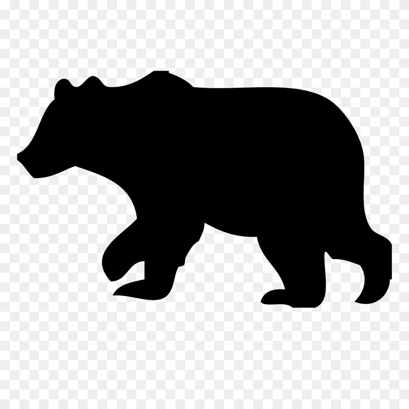 Grizzly Bear Silhouette Vector.