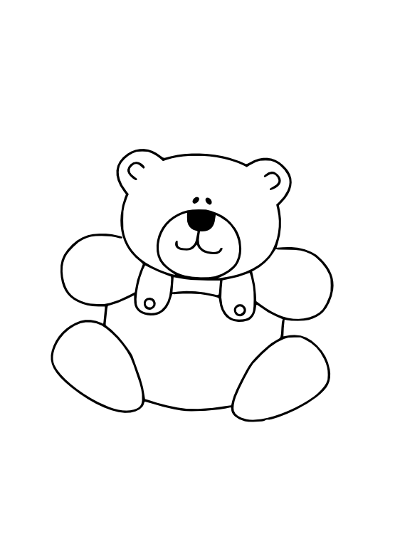 gustavorezende teddy bear black white line art.