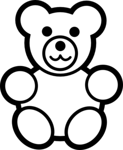 Circle Teddy Bear Black And White Clip Art at Clker.com.