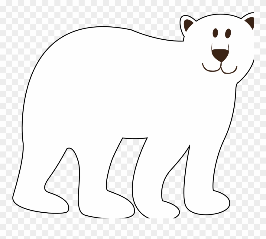 Colorful Animal Polar Bear Black White Line Art Coloring.
