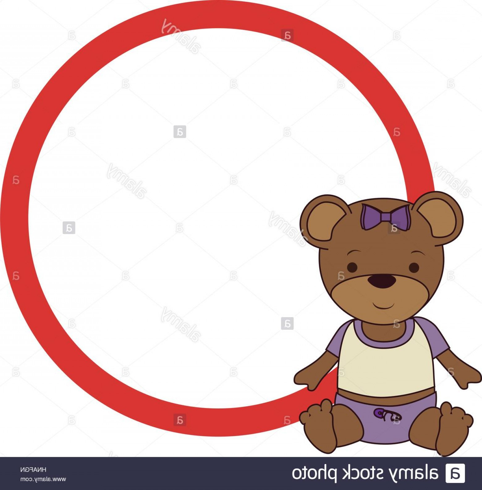 Stock Photo Circular Border With Teddy Bear Vector Illustration.