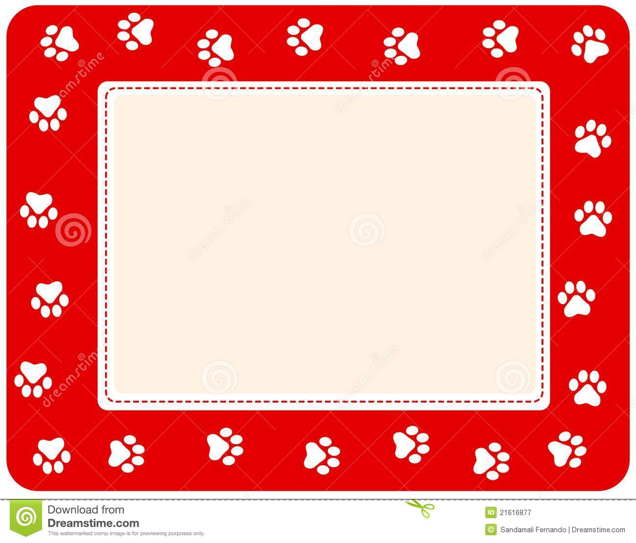 Paw prints border stock vector. Illustration of header.