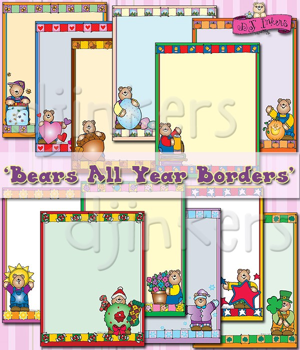 Cute clip art borders for every month of the year..
