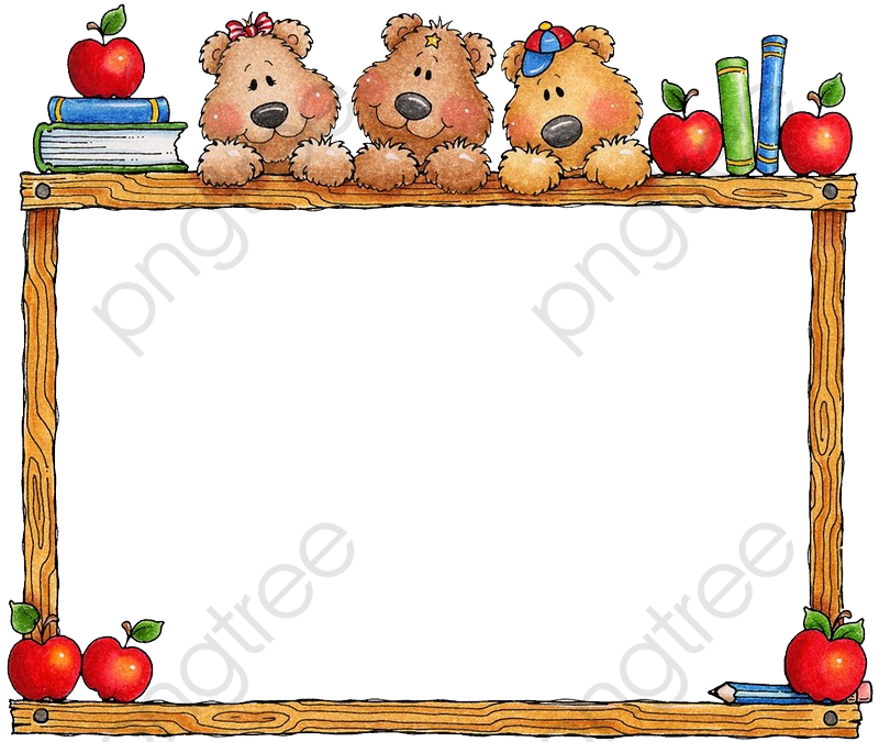 Apple Border Cartoon Bear, Cartoon Clipart, Cartoon Wooden Frame.