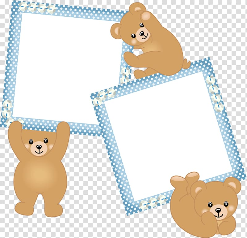 Three bear and two frames, frame Infant Boy, Blue bear frame.