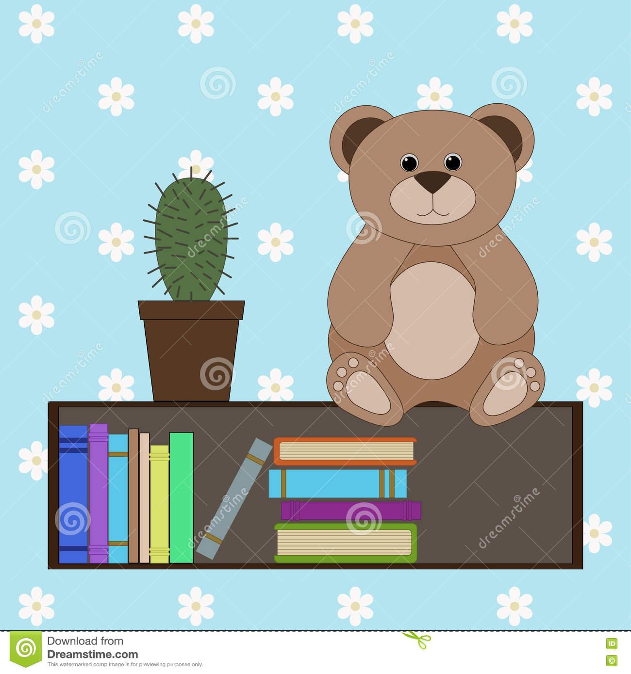 Teddy Bear On A Bookshelf Stock Vector.