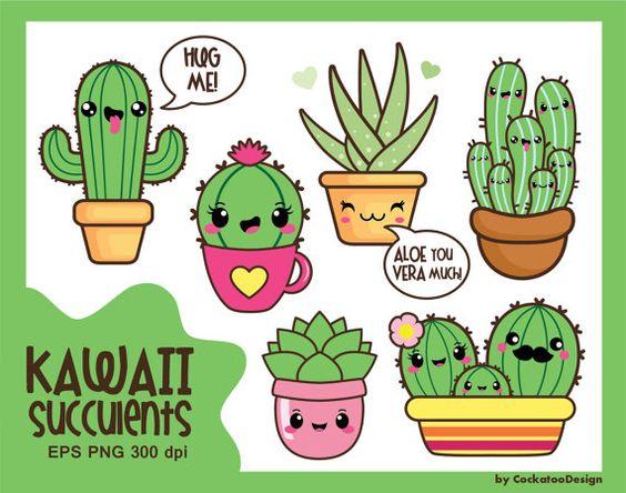 50% OFF SALE, Kawaii cactus, kawaii clipart, kawaii cacti, kawaii.