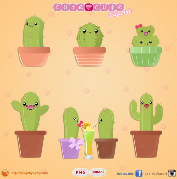 Kawaii Cactus Clipart Printable stickers clip art kikki k Perfecto.