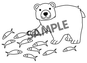 Counting Clip Art : Bear Catching Fish.