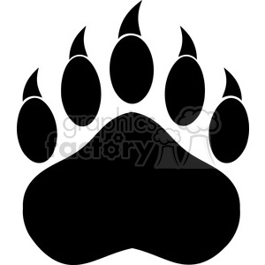 royalty free rf clipart illustration black bear paw with claws vector  illustration isolated on white . Royalty.