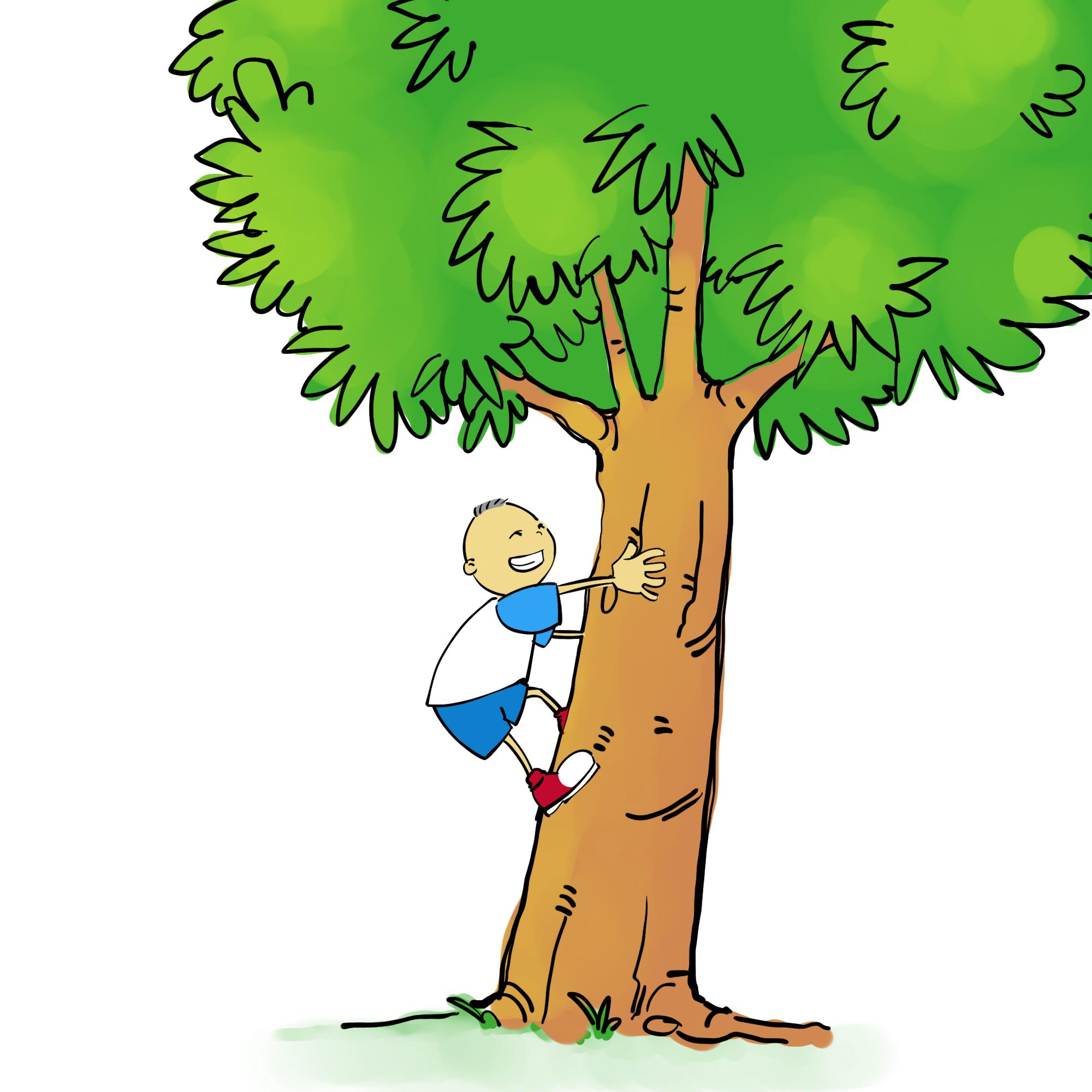 Boy Climbing A Tree Clipart.