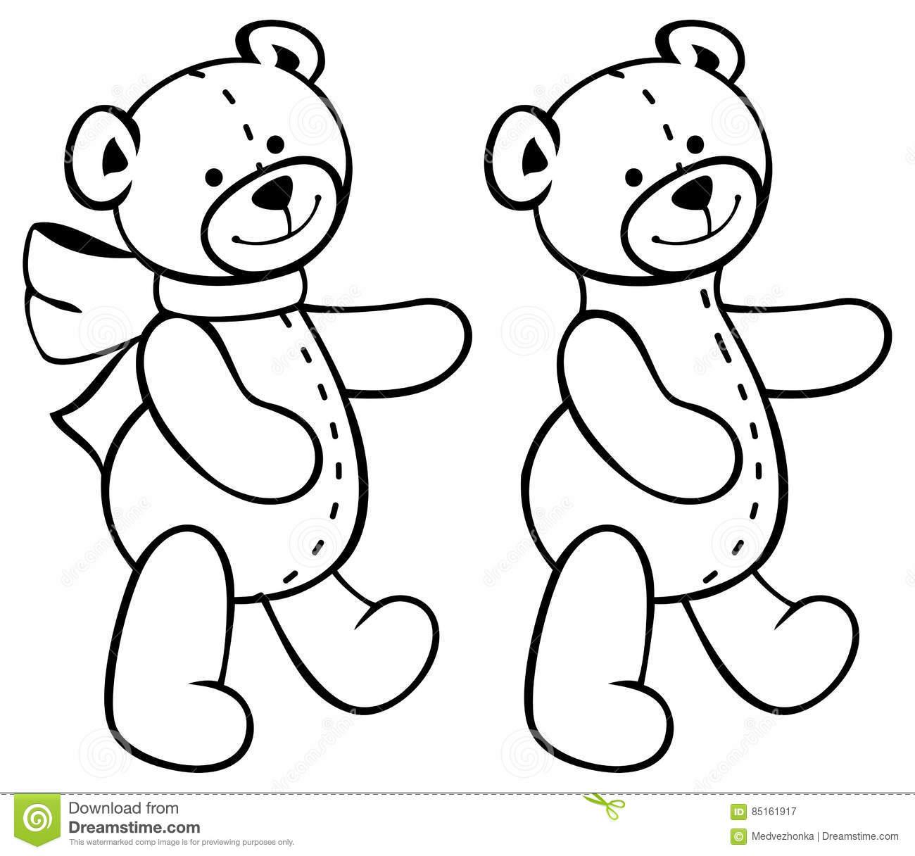 Cute Teddy Bears. Children Toys. Raster Clip Art. Stock Illustration.