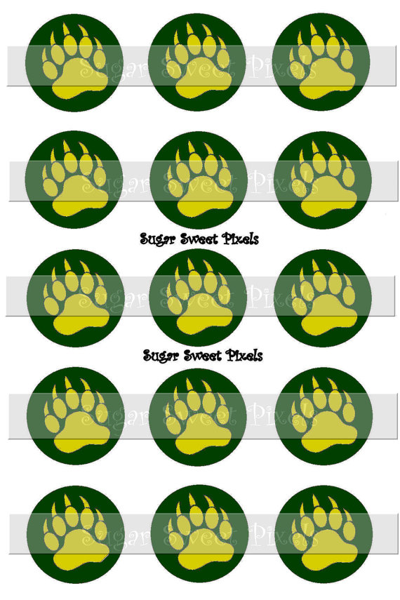 INSTANT DOWNLOAD Green yellow gold Bear Claw two color Paw Print.