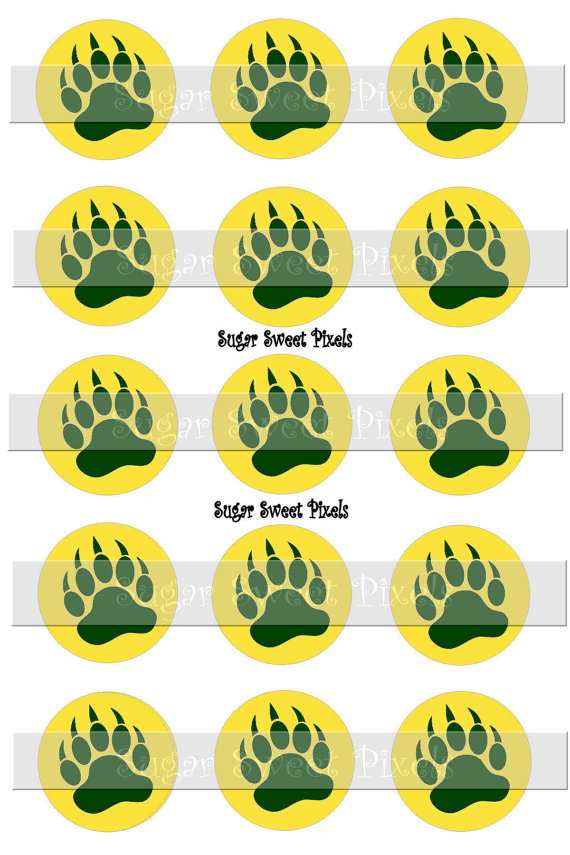 INSTANT DOWNLOAD Gold yellow Green Bear Claw two color Paw Print.