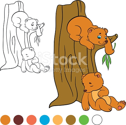 Coloring Page Color Me Bear Two Little Cute Bears stock vector art.