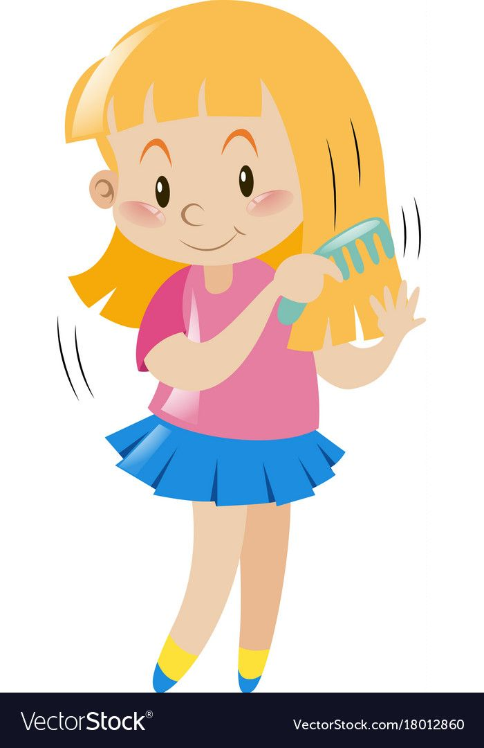 Little girl combing her hair Royalty Free Vector Image.