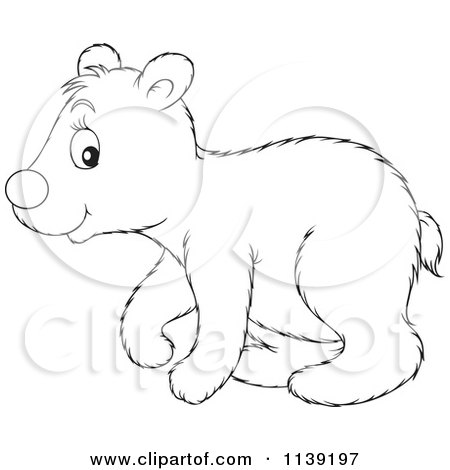 Cartoon Of A Cute Black And White Polar Bear Cub.