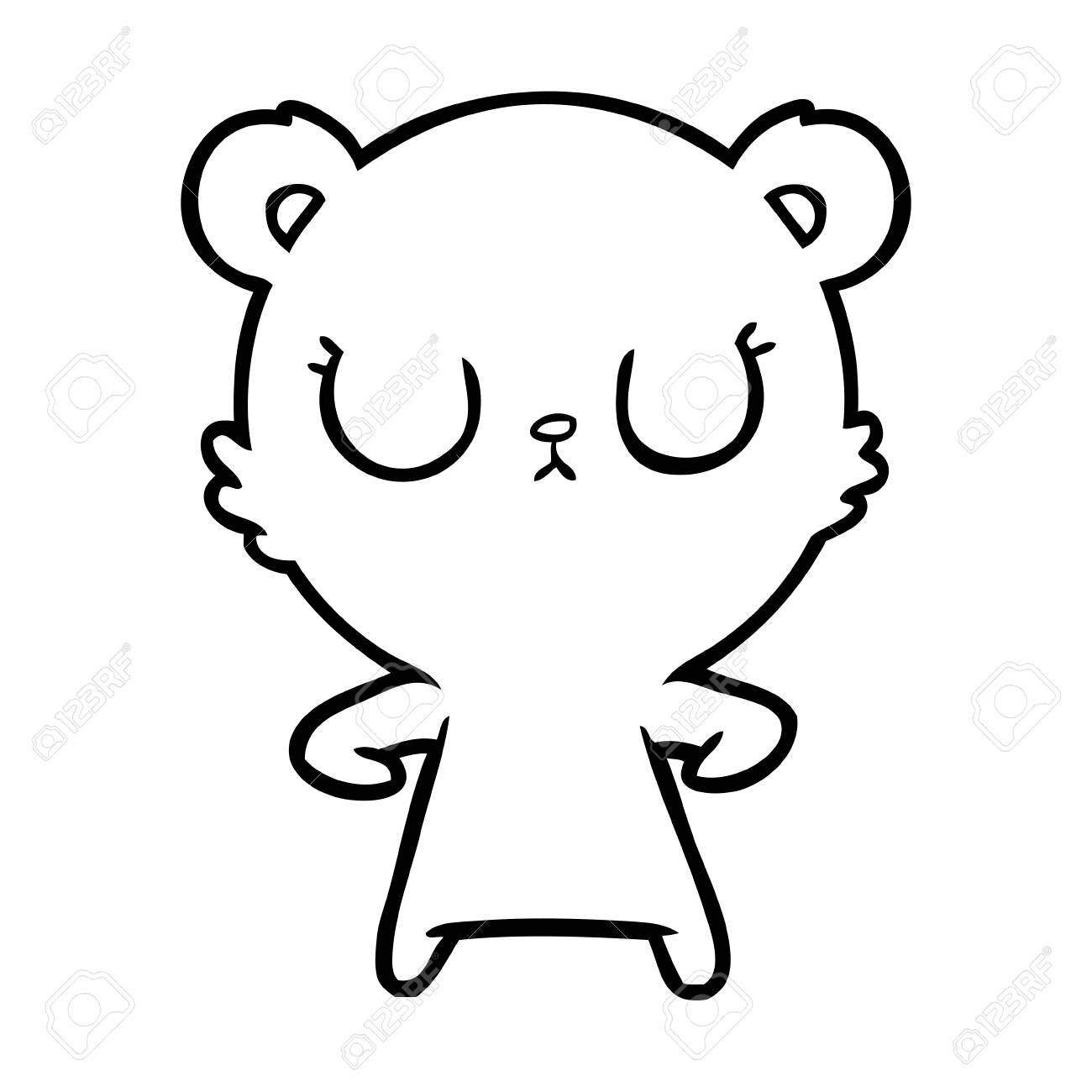 Black and white peaceful cartoon bear cub.