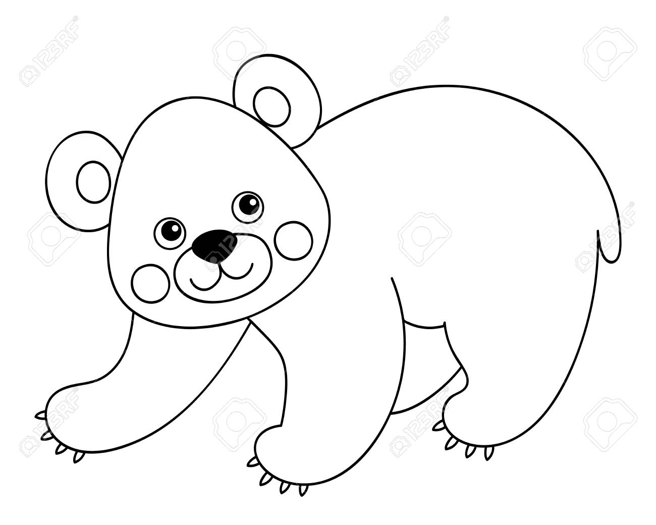 Vector black and white cute cartoon bear. Vector bear cub. Bear...
