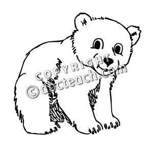 Bear cub clipart black and white.