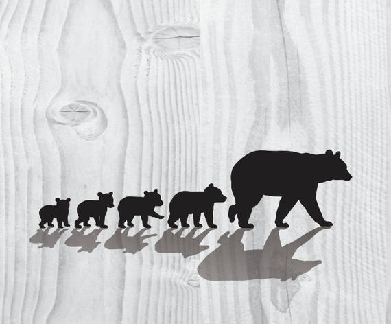 Mama Bear SVG Four Cubs Silhouette Clipart Iron on Bear Cub Clipart Cricut  Cutting Bear Cub svg Laser Engraving Bear Cubs SVG Cameo file.