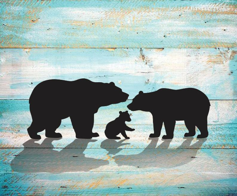 Mama Bear Papa Bear SVG Bear Cub Silhouette SVG Clipart Iron on Bear Cub  Clipart Cricut Cutting Bear Cub svg Laser Engraving Bear Cubs SVG.