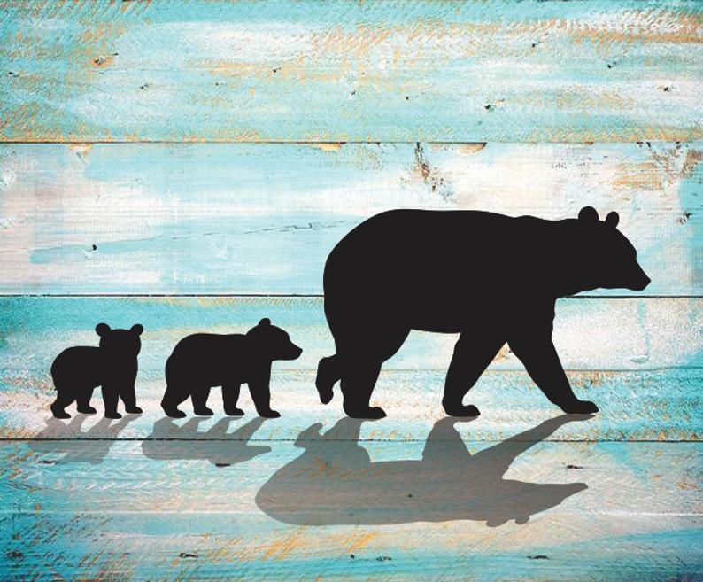 Mama Bear SVG two Cubs Silhouette Clipart Iron on Bear Cub Clipart Cricut  Cutting Bear Cub svg Laser Engraving Bear Cubs SVG.