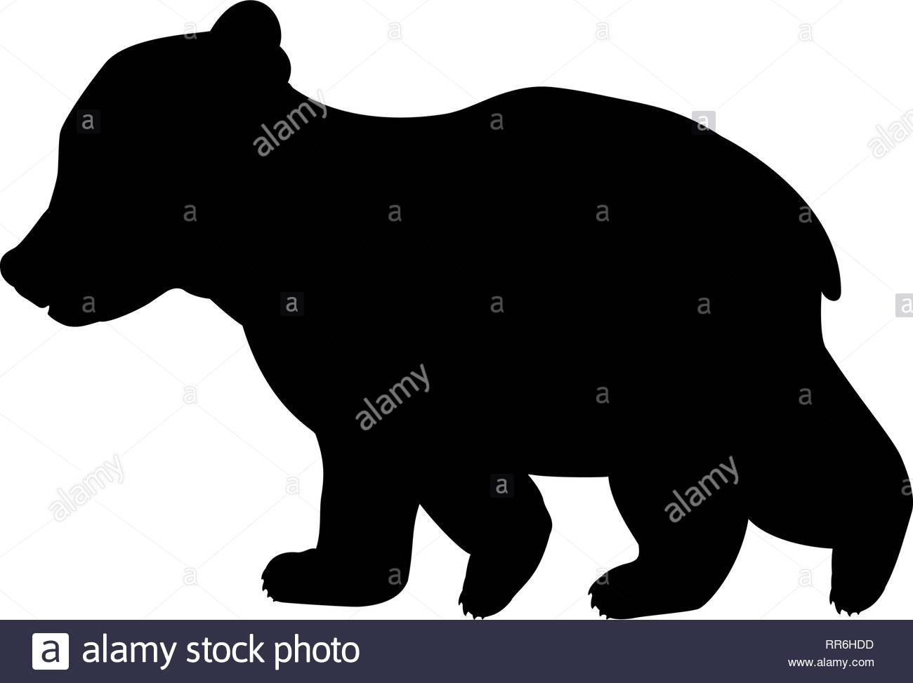 Bear cub wild black silhouette animal. Vector Illustrator Stock.