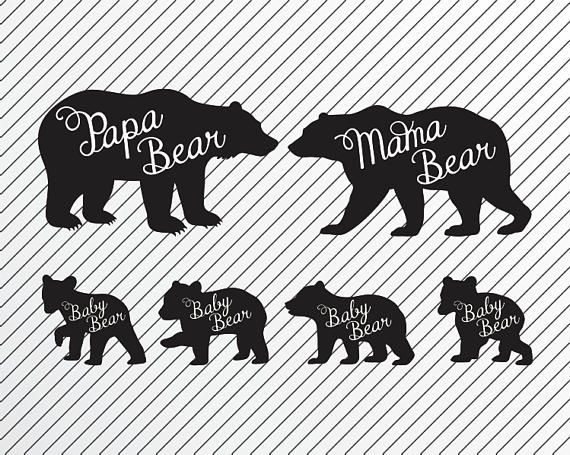 Bear Father Mother and Four Cubs Cricut Cutting Engraving file, Bear.