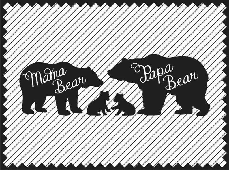Bear Mother and Cubs SVG Bear Father and Cubs Printable Bear Family SVG  Bear Cub svg Cricut Bear Cub Silhouette svg Laser Engraving.