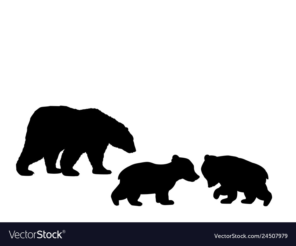 Bear family two bear cubs black silhouette animals.