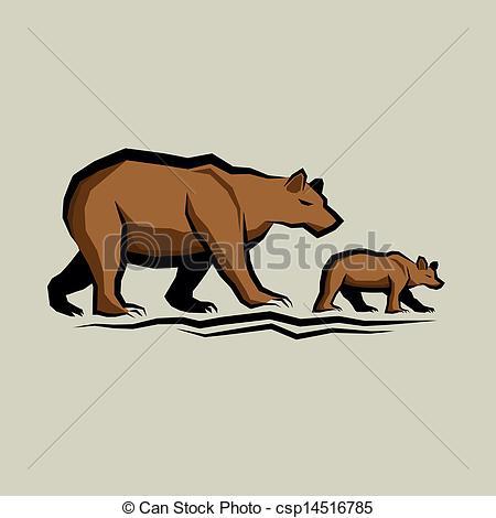 Bear and cub clipart.