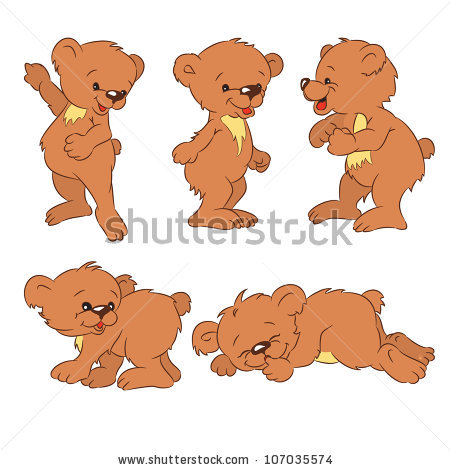 Four Funny Cartoon Bearcubs Isolated Background Stock Vector.