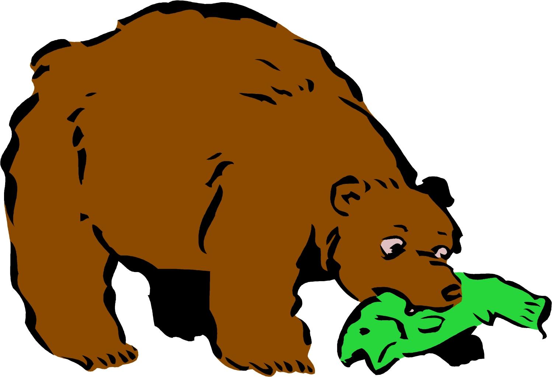 Bear Eating Fish Clipart.