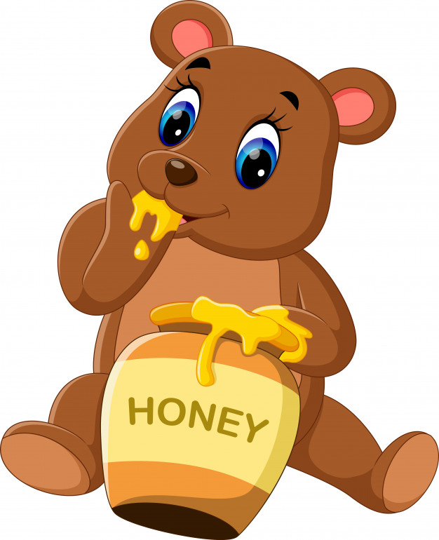 Bear eating honey Vector.