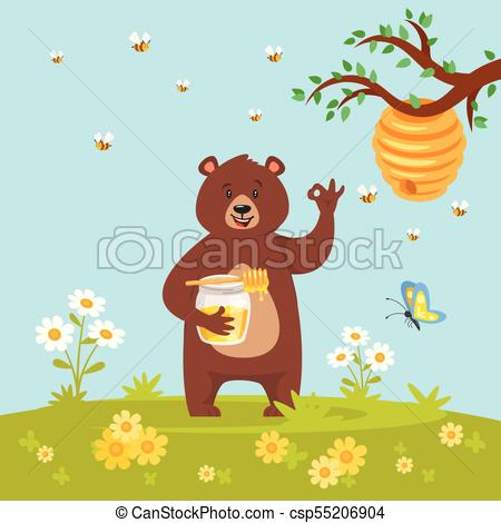 bear character eating sweet honey.