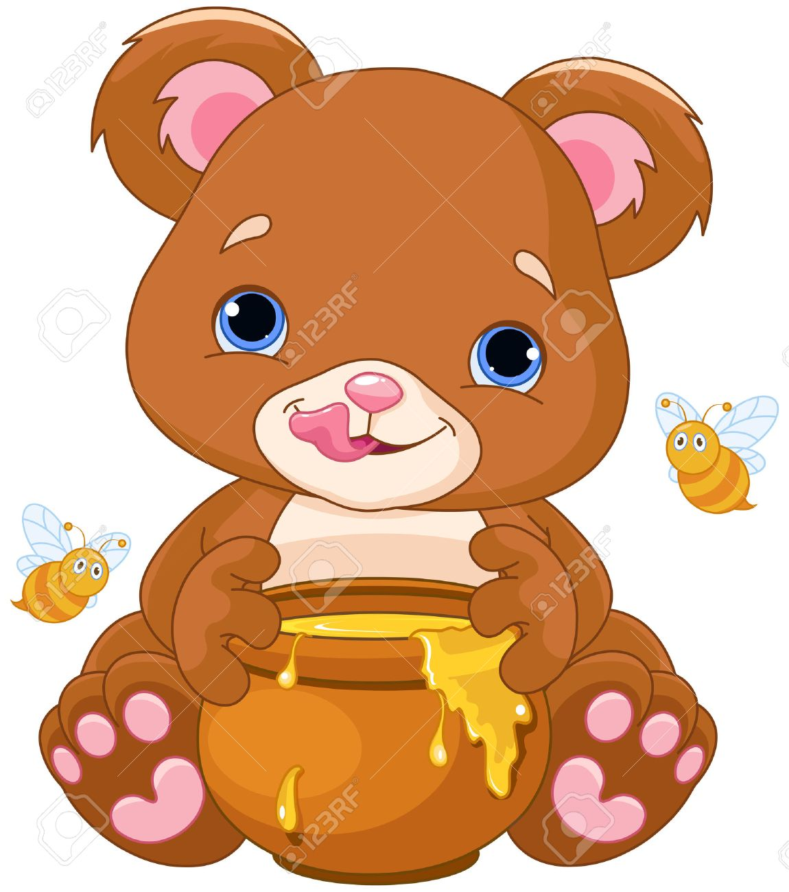 Illustration of cute bear preparing to eat honey.
