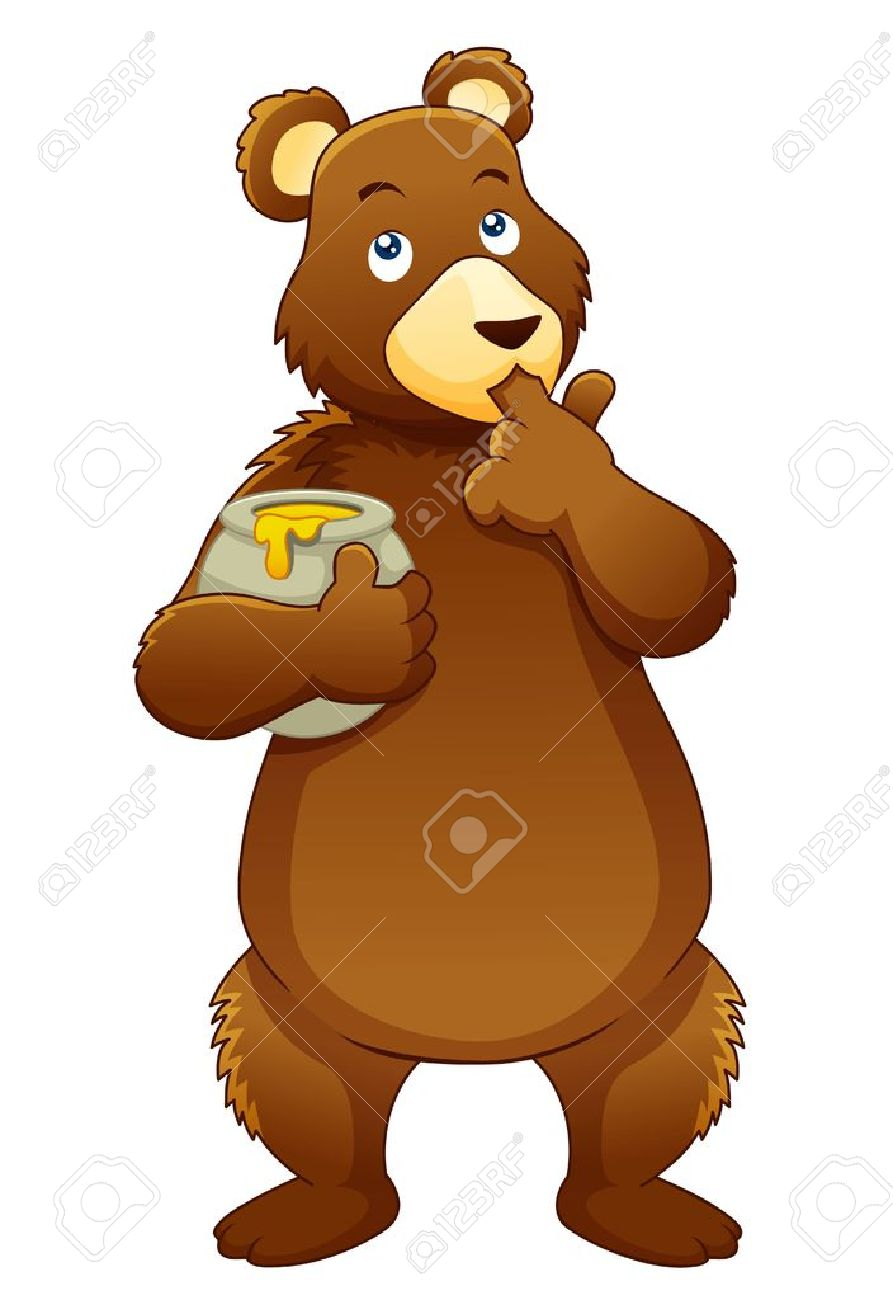 Illustration of Bear eating honey.