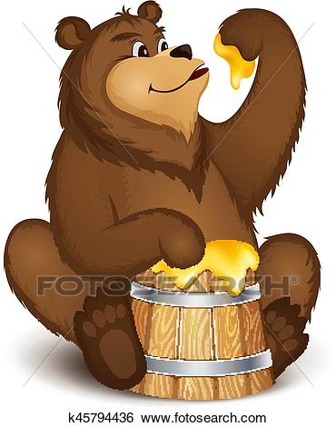 The bear eats honey Clip Art.